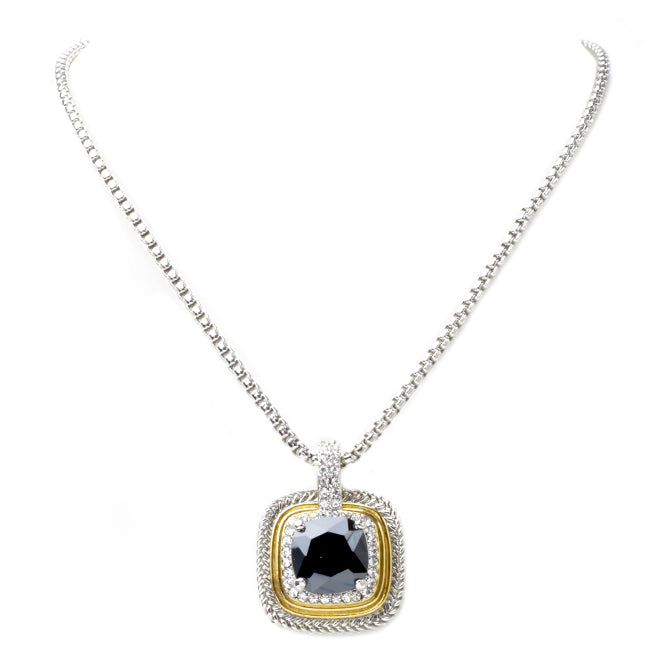 Two Tone Cubic Zirconia Square Pendant Necklace