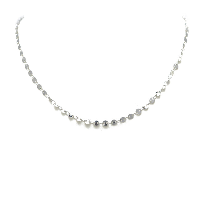 "16"" Silver Plated Disc Chain Necklace"