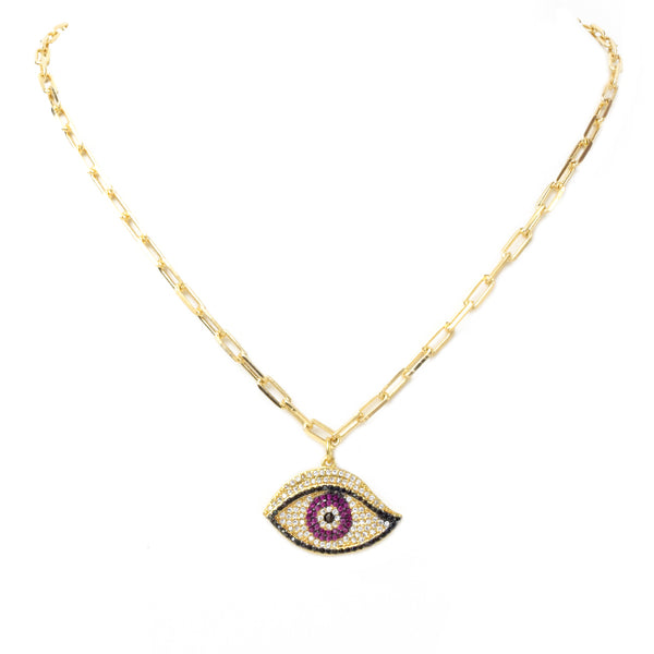 Linked Chain Necklace with Cubic Zirconia Pave Eye Necklace