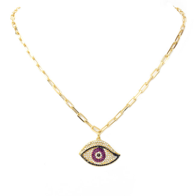 Gold Filled Linked Chain Necklace with CZ Pave Eye Pendant