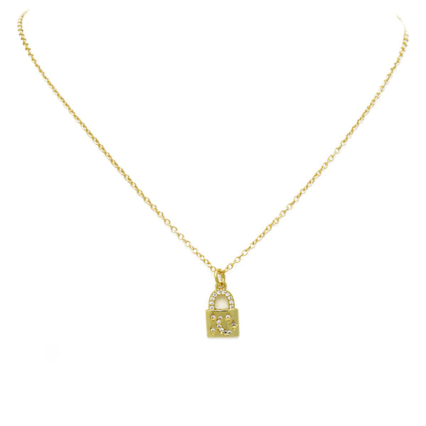 gold cz moon lock necklace
