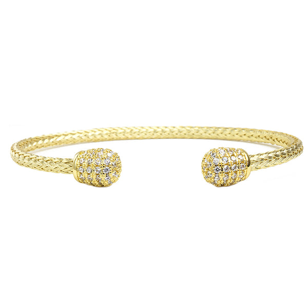 Gold Twisted Cable Cubic Zirconia Pave Cuff Bracelet