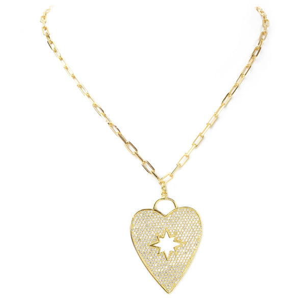 Linked Chain Necklace with Cubic Zirconia Pave Heart Necklace