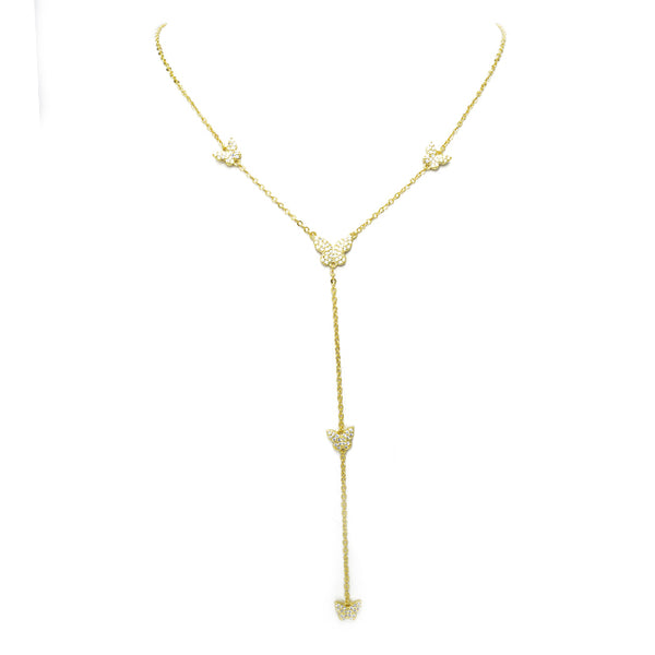 gold cz butterfly necklace