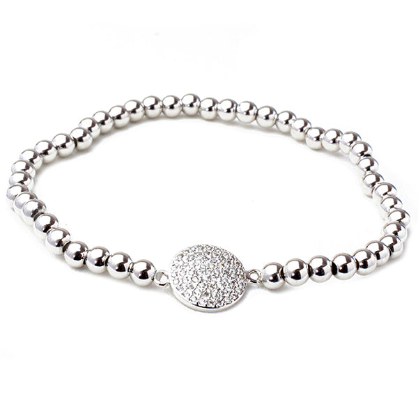 Silver Brass Beaded Stretch Bracelet with CZ Pave Station