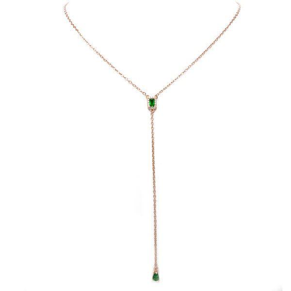 Rose Gold Y Shaped Necklace with Emerald Green CZ Drop Pendant