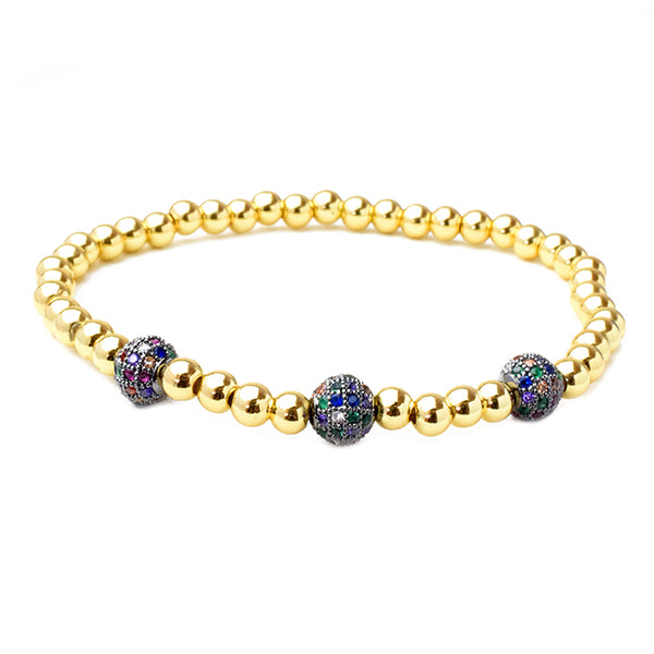 Gold Brass Beaded Multi Color Cubic Zirconia Stretch Bracelet