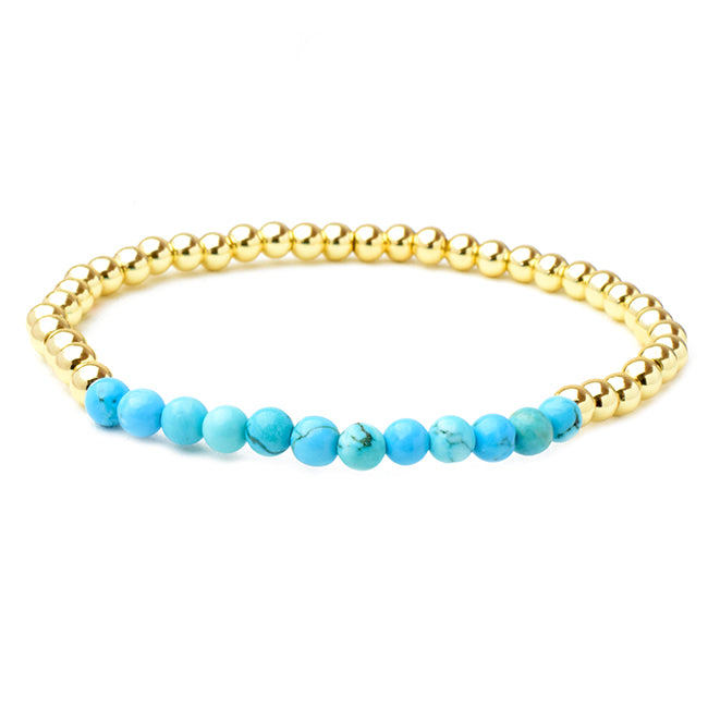 Gold Plated Beaded Turquoise Stretch Bracelet