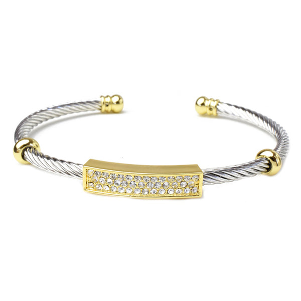 Two Tone Cubic Zirconia Bar Cuff Bracelet