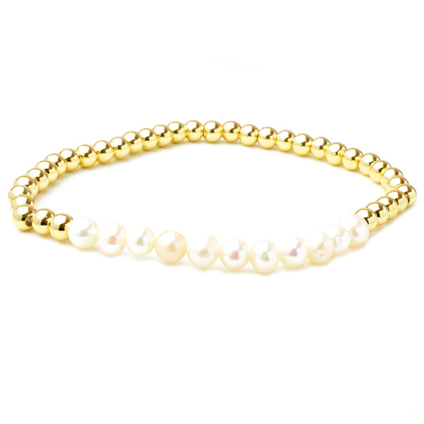 Gold Brass Beaded Pearl Stretch Bracelet with Crystals