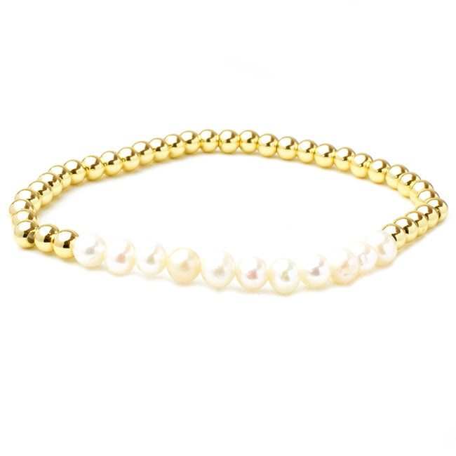 Gold Plated Beaded Stretch Bracelet with Pearls