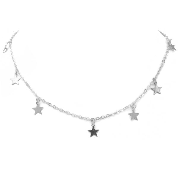 Silver Chain with Multi Star Charm Necklace