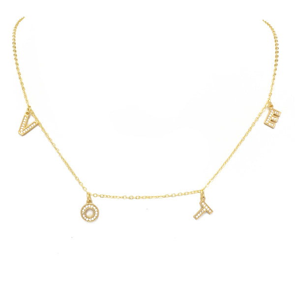 Gold Cubic Zirconia Vote Necklace