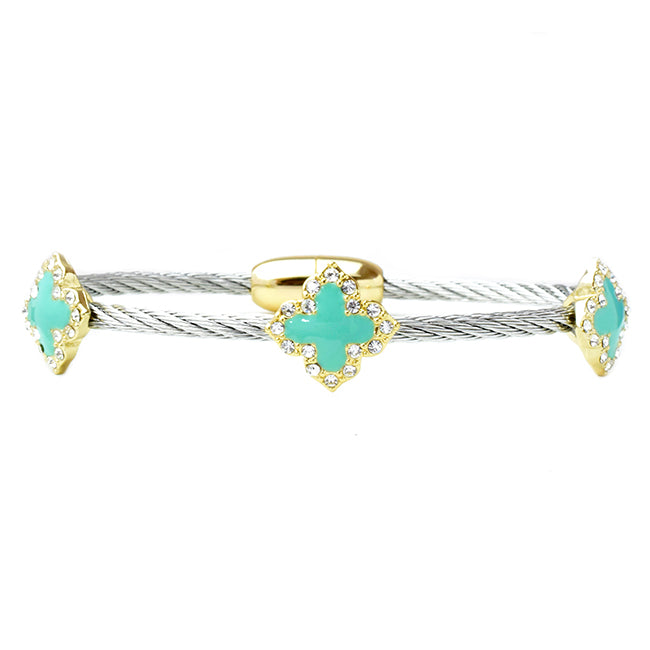 twisted cable cz clover bracelet