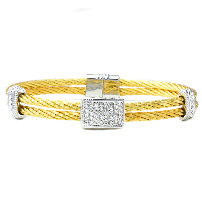 Two Tone CZ Magnetic Cuff Pave Bracelet