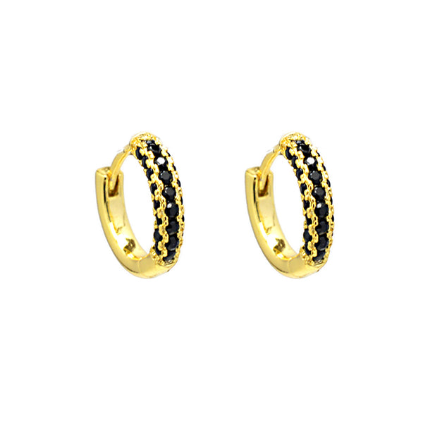 Gold Black Jet Cubic Zirconia Hoop Earrings