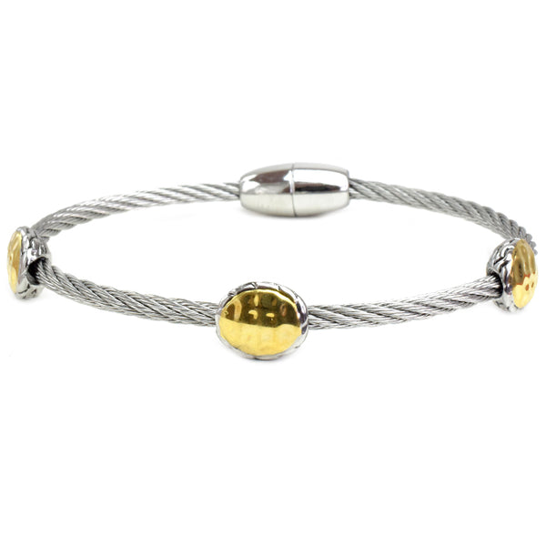 Two Tone Hammered Twisted Cable Magnetic Bracelet