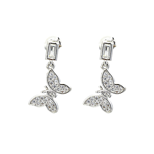 Silver Cubic Zirconia Pave Dangle Butterfly Earrings