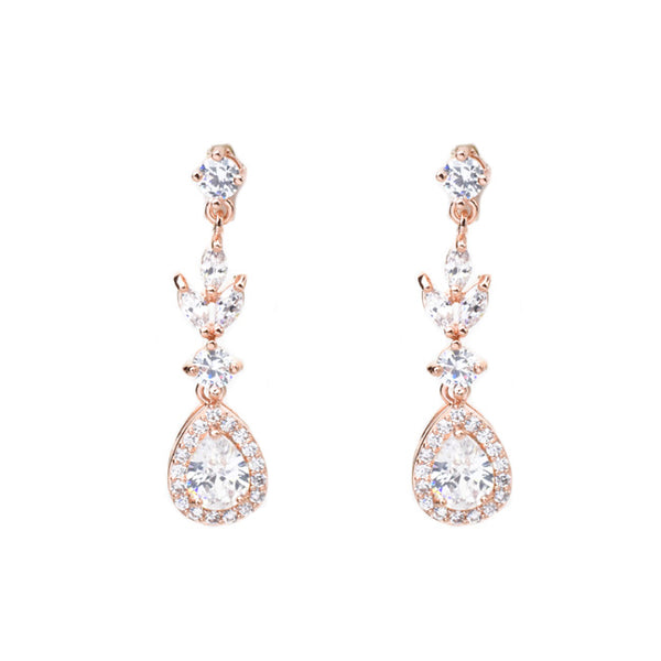 rose gold cz dangle earring