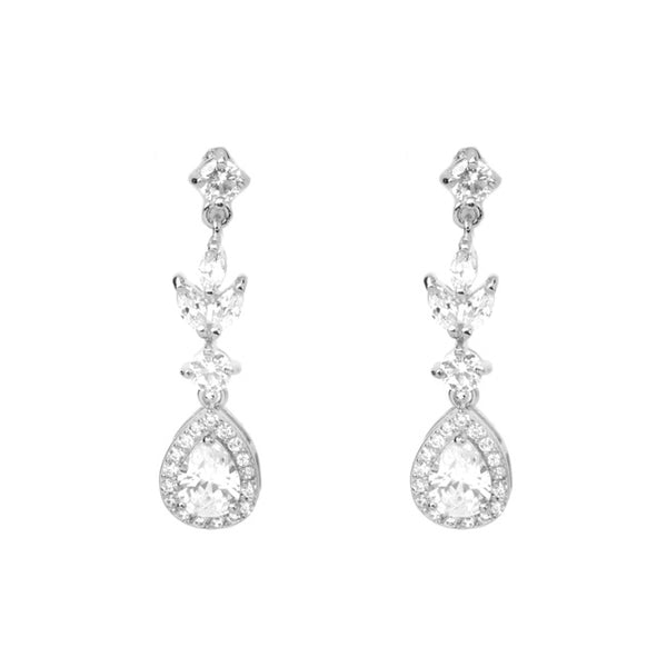silver cz dangle earring