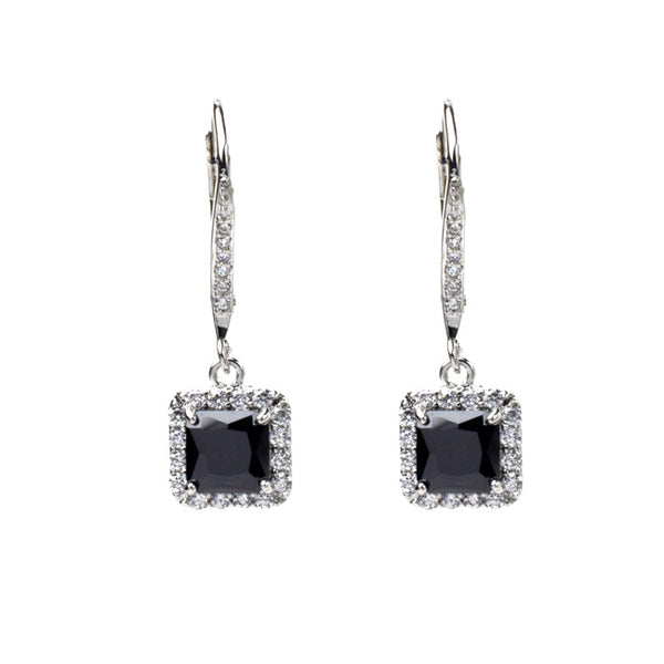 Silver Princess Cut Black Cubic Zirconia Dangle Earring