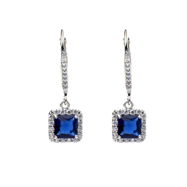 Silver Princess Cut Blue Cubic Zirconia Dangle Earring