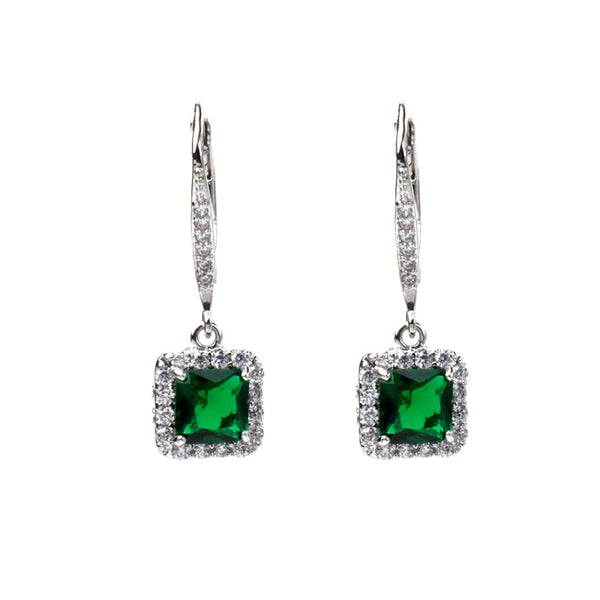 Silver Princess Cut Green Cubic Zirconia Dangle Earring