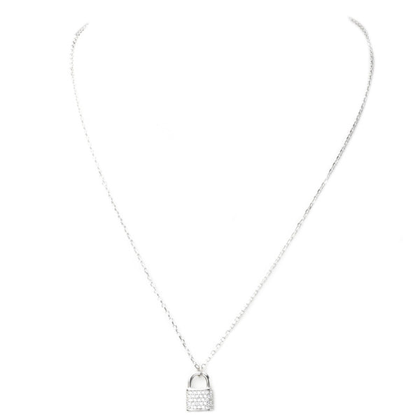 Sterling Silver Cubic Zirconia Pave Lock Necklace