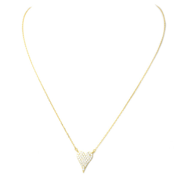 Sterling Silver Gold Plated CZ Pave Heart Necklace