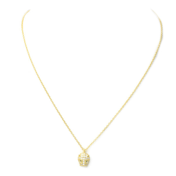 Sterling Silver Gold Plated CZ Small Jaguar Pendant Necklace