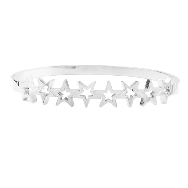 Silver Stainless Steel Star Bangle Bracelet