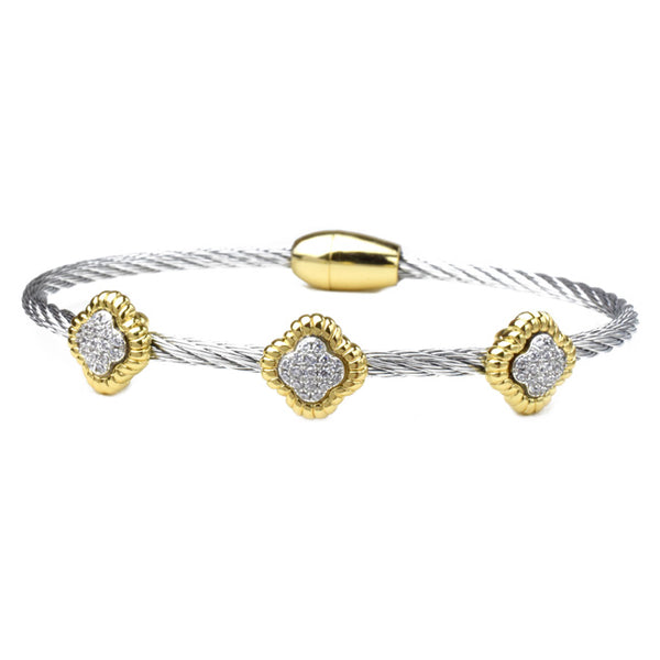 Two Tone Twisted Cable CZ Pave Clover Magnetic Bracelet