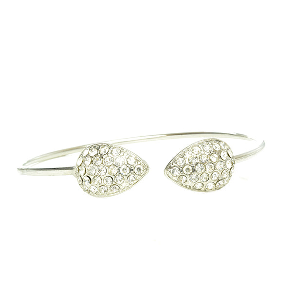 Silver Tone Open Cuff with Crystal Studded Teardrop