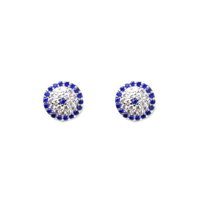 Silver Cubic Zirconia Pave Evil Eye Stud Earrings