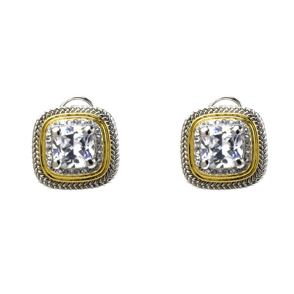 Two Tone Clear Cubic Zirconia French Clip Earrings