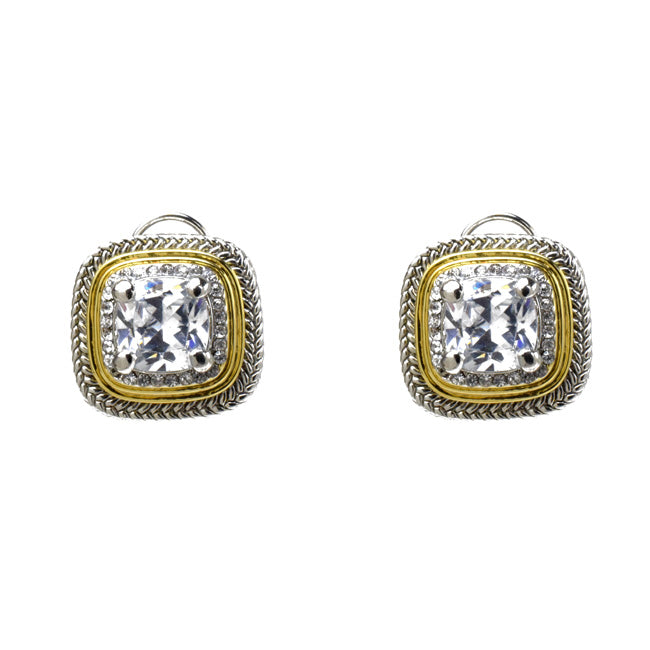 Two Tone Square Clear Cubic Zirconia Post Earrings
