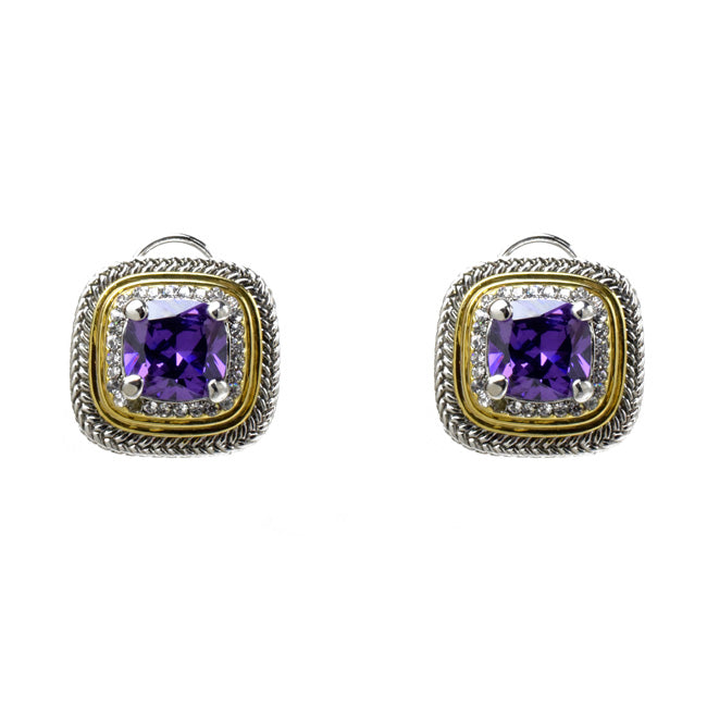 Two Tone Amethyst Cubic Zirconia French Clip Earrings