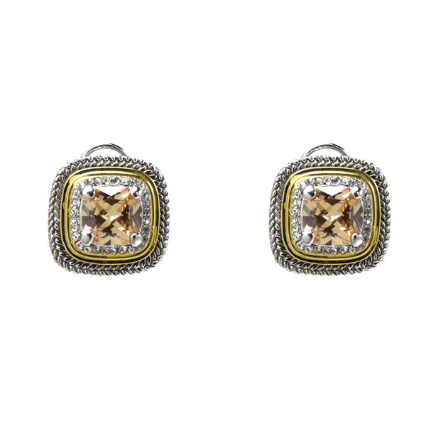 Two Tone Topaz Cubic Zirconia French Clip Earrings