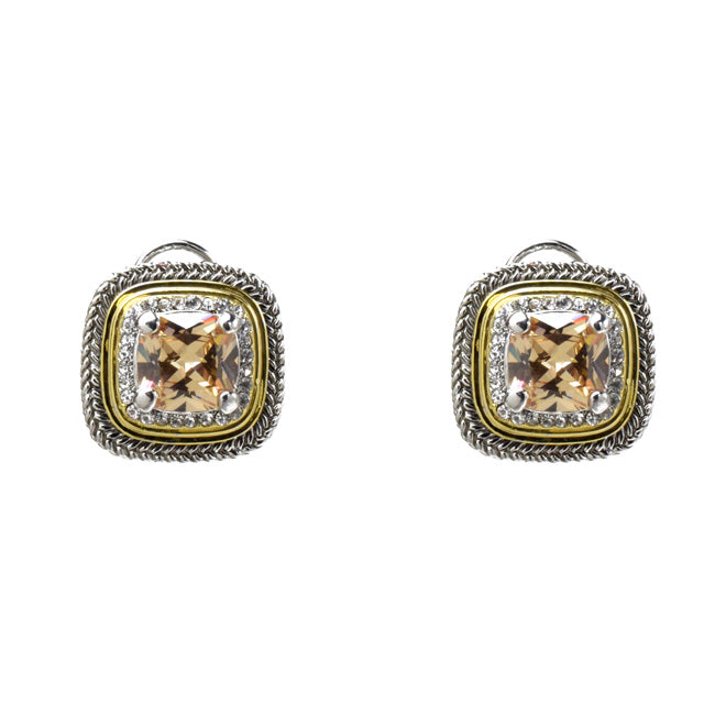 Two Tone Topaz Cubic Zirconia Post Earrings