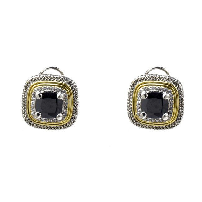 Two Tone Black Cubic Zirconia French Clip Earrings