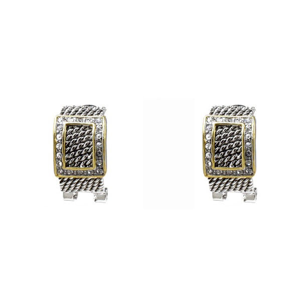 Two Tone Cubic Zirconia Square Post Earrings
