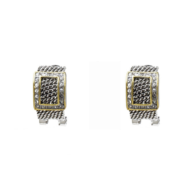 Two Tone Cubic Zirconia French Clip Earrings
