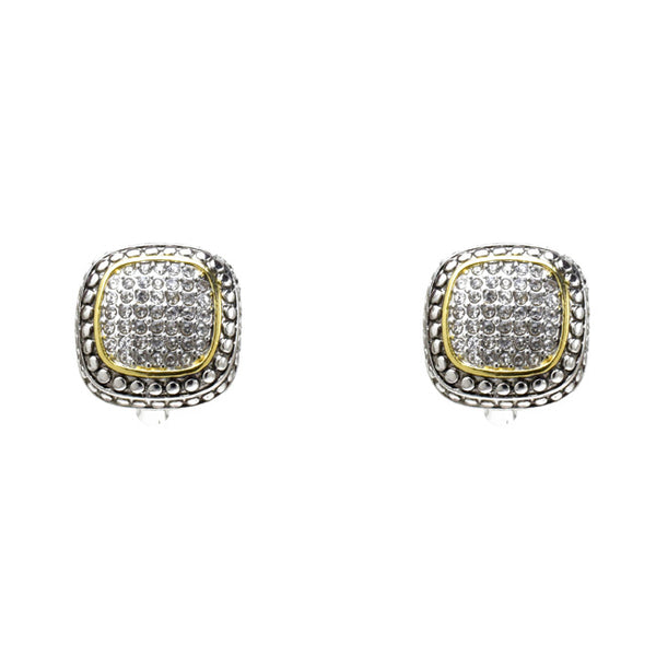 Two Tone Cubic Zirconia Pave French Clip Earrings