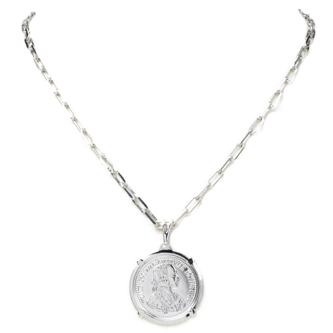 Silver Chain Linked Coin Pendant Necklace