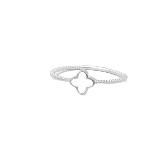 Sterling Silver Mother of Pearl Clover Ring