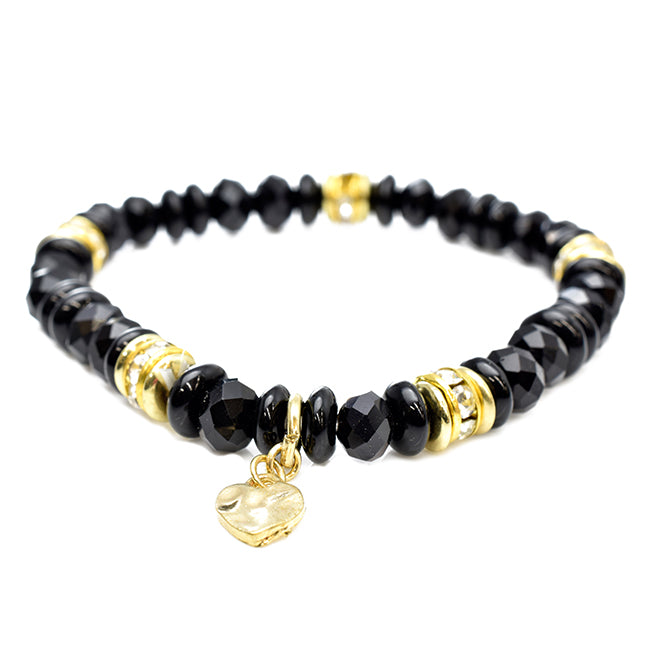 Stretch Black Beaded Bracelet with a Heart Charm