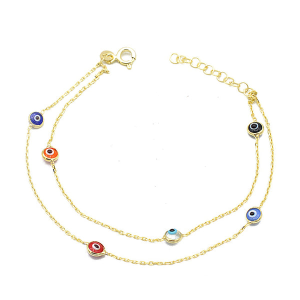 Sterling Silver Gold Evil Eye Bracelet