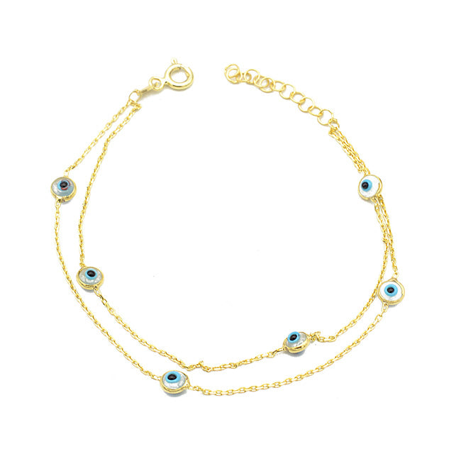Sterling Silver Gold Plated Multi Strand Evil Eye Bracelet