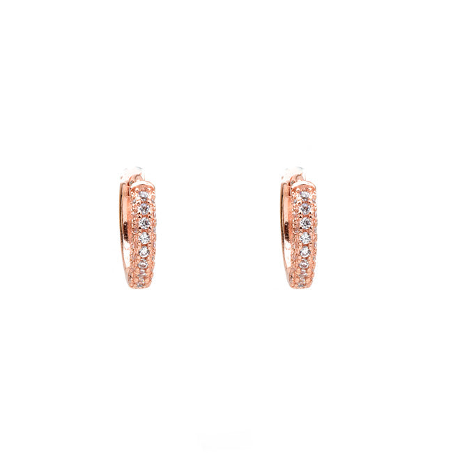 Rose Gold Cubic Zirconia Pave Huggie Hoop Earrings