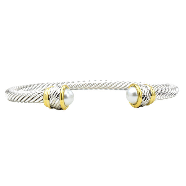 Two Tone Twisted Cable Pearl Open Cuff Bracelet